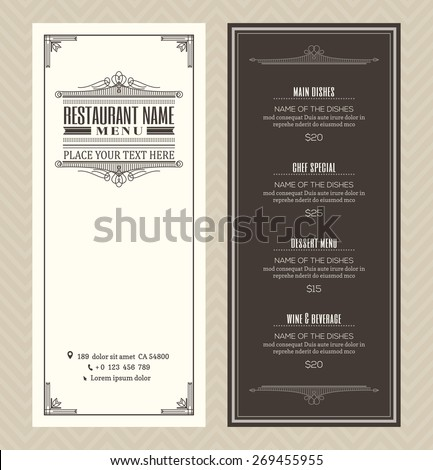 Restaurant or cafe menu vector design template with vintage retro art deco frame style - stock vector
