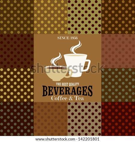 Restaurant or coffee house menu design / Beverages Coffee & Tea  - stock vector