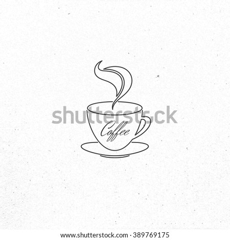 Restaurant or coffee house menu design. Vector brochure template for cafe, coffee house, tea, restaurant, bar. Food and drinks logotype. Coffee symbols. Coffee cup design on vintage background - stock vector