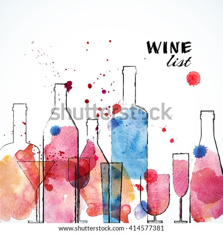 Restaurant or wine bar menu template. Sketch Watercolor design. Vector illustration. - stock vector