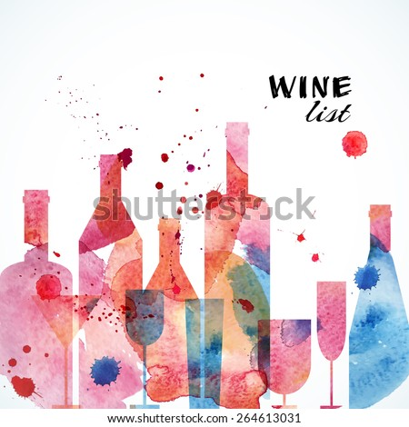 Restaurant or wine bar menu template. Watercolor design. Vector illustration - stock vector