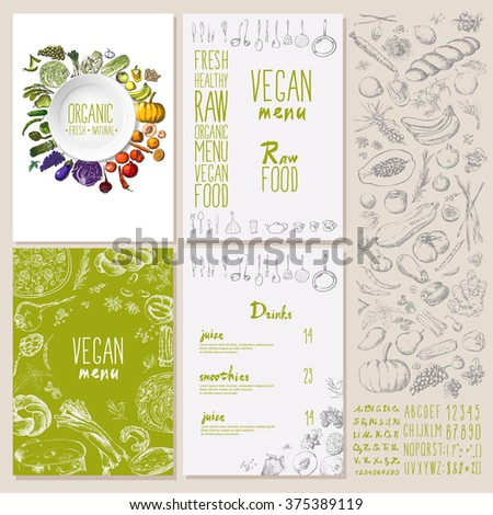 Restaurant organic natural vegan Food Menu Vintage Design style Vector set - stock vector