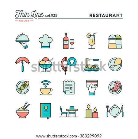 Restaurant, phone ordering, meal, receipt and more, thin line color icons set, vector illustration - stock vector