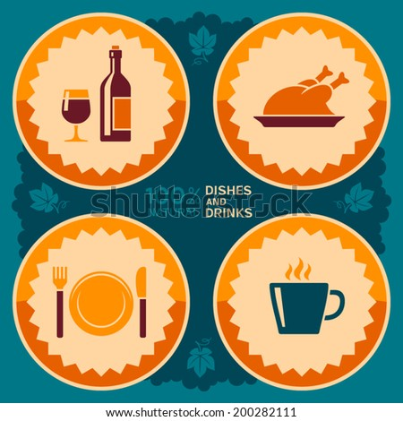 Restaurant poster design with food and drink icons - stock vector