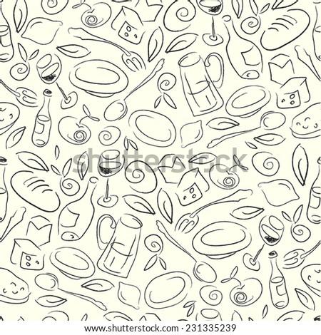 Restaurant Seamless Pattern - stock vector