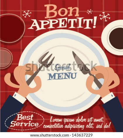 Restaurant service. Retro background - stock vector