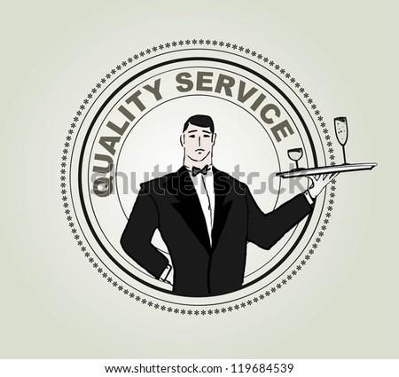 Restaurant service vector label - stock vector