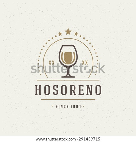 Restaurant Shop Design Element in Vintage Style for Logotype, Label, Badge and other design. Wine glass and Grapes retro vector illustration. - stock vector