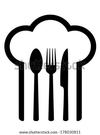 restaurant sign with chef hat and fork, spoon and knife - stock vector