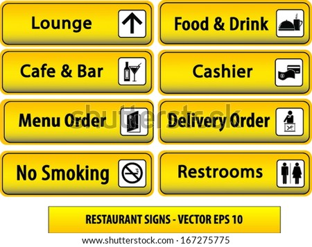 Cafe Restaurant Taxi Reception Set Of Yellow And Black