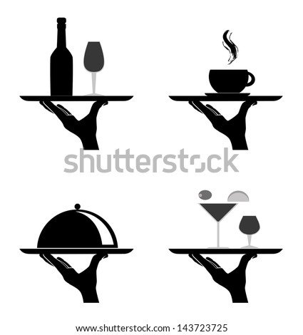 restaurant silhouettes over white background vector illustration - stock vector