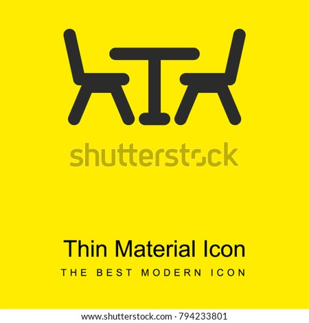 restaurant table chairs bright yellow material stock vector