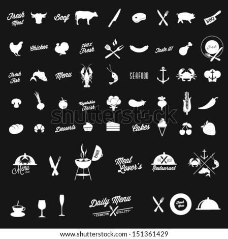 Restaurant vector icon set  - stock vector