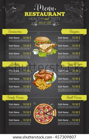 Restaurant Vertical Color Menu Stock Vector   Shutterstock