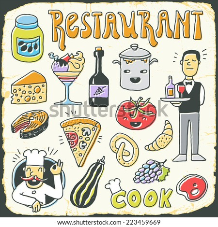 Restaurant vintage colorful doodle set on card 1. Hand drawn. Vector illustration. - stock vector