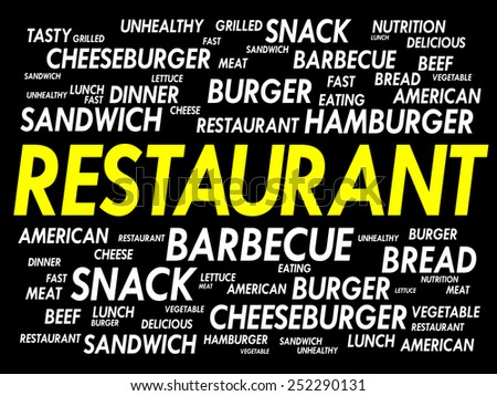 RESTAURANT word cloud, fast food concept - stock vector