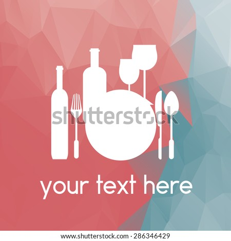 Restaurants and cafes, kitchen appliances, vintage background of polygons - stock vector