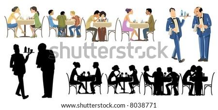 Restaurants Goers Collection-vector - stock vector