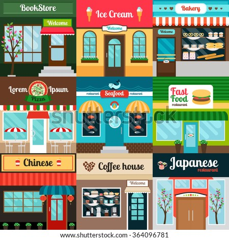 Restaurants with different kind of food facade. Coffee house, bakery, fast food and book stores. Vector illustration - stock vector