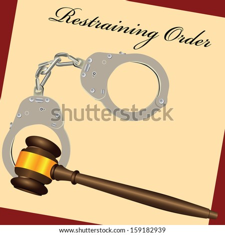 Restraining Order with the court hammer and handcuffs. Vector illustration. - stock vector