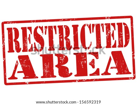 Restricted area grunge rubber stamp on white, vector illustration