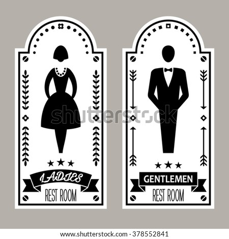 Restroom icon. Premium Restroom Retro Signs Vector Lady & Gentleman  Collection. Vintage restroom vector