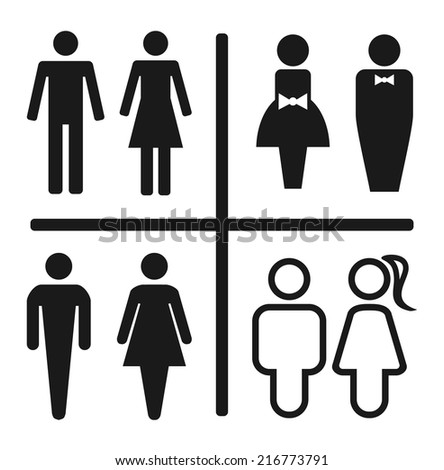 Restroom icon set isolated on white.   Vector illustration - stock vector