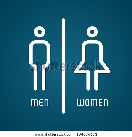 Restroom male and female sign vector illustration - stock vector