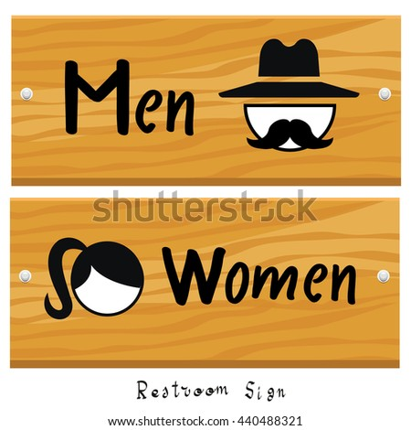 Restroom or toilet male and female sign vector illustration - stock vector