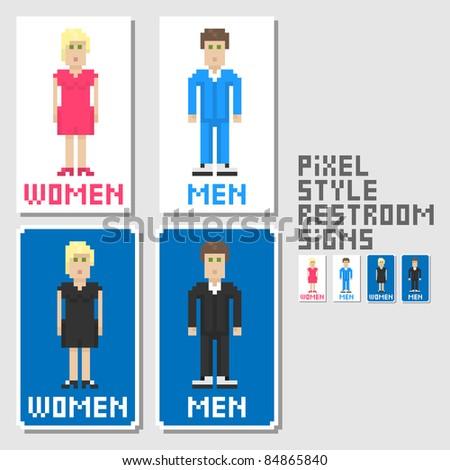 Restroom signs. Pixel art style. Vector illustration. - stock vector