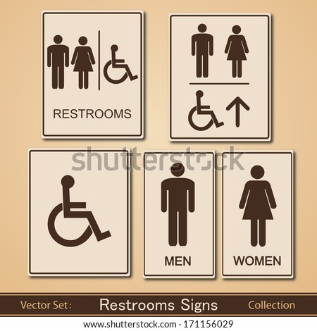 Restroom Signs Vector Collection - stock vector