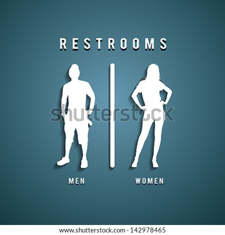 Restroom Signs, Vector illustration - stock vector