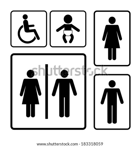 restroom vector signs black silhouettes on white background - stock vector