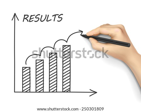 results graph drawn by hand isolated on white background - stock vector