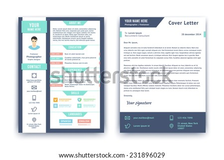 Resume And Cover Letter Or Cv Vector Design Template On Two Pages Isolated  On White.  Example Curriculum Vitae