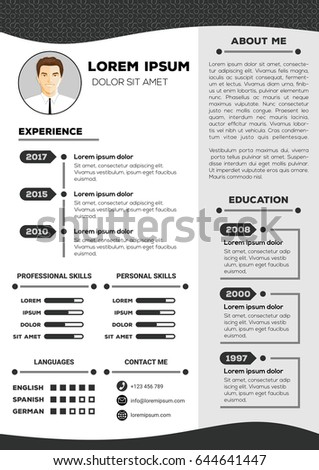 nice resume templates cv hetmakershuis 23781 | stock vector resume and cv vector template with nice minimalist design 644641447