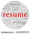 Resume concept in word tag cloud on white background - stock vector