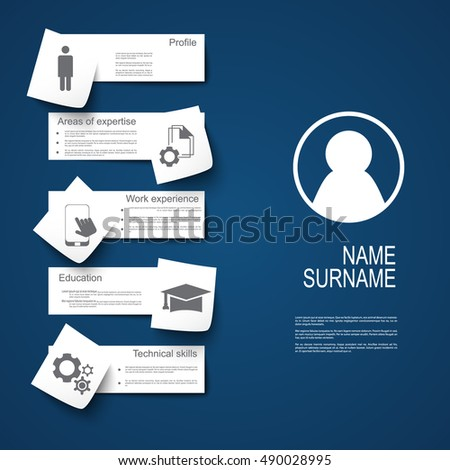 Resume / CV template design with stickers