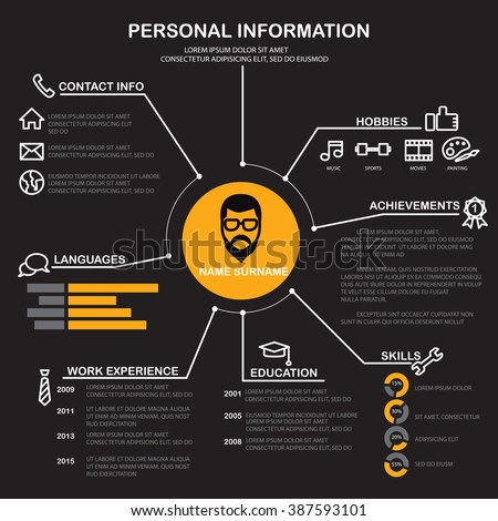 resume cv template infographics background element เวกเตอร สต อก