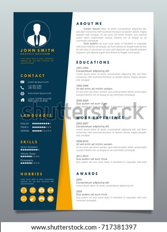 resume design template minimalist cv business stock vector 717381397 shutterstock