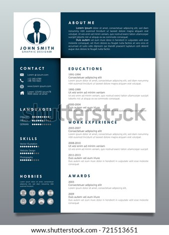 resume design template minimalist cv business stock vector 721513651