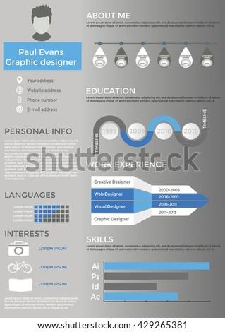 Resume Flat Style Design On Grey Stock Vector 421388071 - Shutterstock