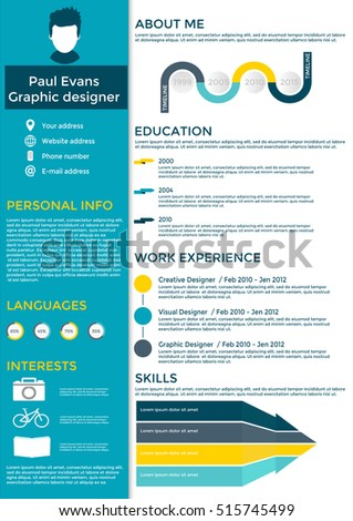 Lovely Resume In Flat Style Design On White Background. CV Set With Infographics  Elements And Timeline And Resume Background Image