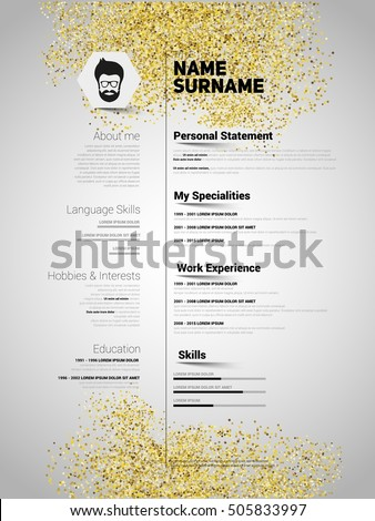 resume minimalist cv gold glitter style stock vector 505833997