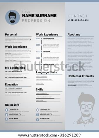 resume template minimalist cv vector design - Minimalist Resume Template