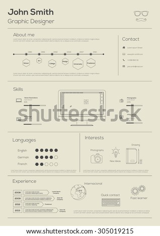 Resume. With Infographics and Timeline. Line art. Vector Illustration  - stock vector