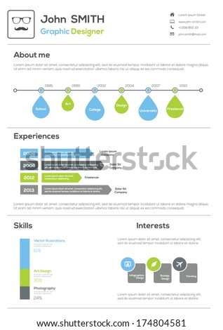 Resume. With Infographics and Timeline. Vector Illustration  - stock vector