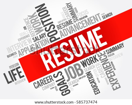 resume word cloud collage business concept เวกเตอร สต อก 585737474