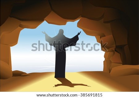 Resurrected Jesus Christ - stock vector