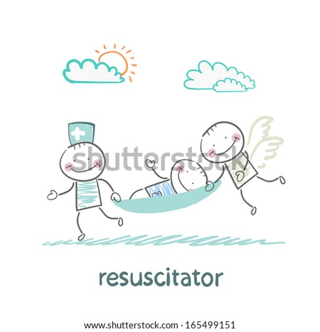 resuscitator carry on a stretcher patient - stock vector
